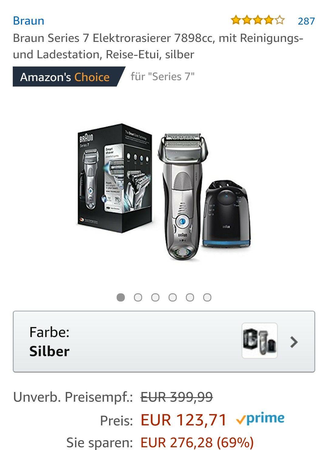 [Amazon] Braun Series 7 Elektrorasierer 7898cc inkl. Reinigungsstation