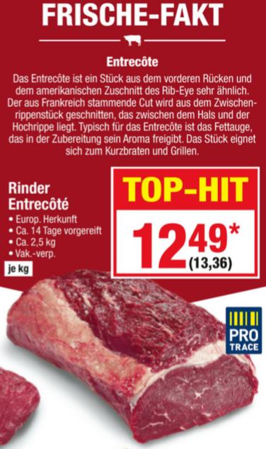 Rinder Entrecôte Ribeye - Steak METRO 13,36 € / Kg -- Hüfte 10,15 € / Kg