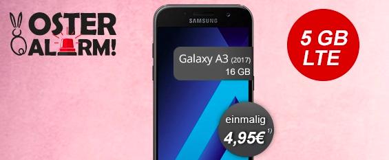 Galaxy A3 mit 5 GB LTE-Tarif für dauerhaft 14,99 € und 4,95 € Zuzahlung