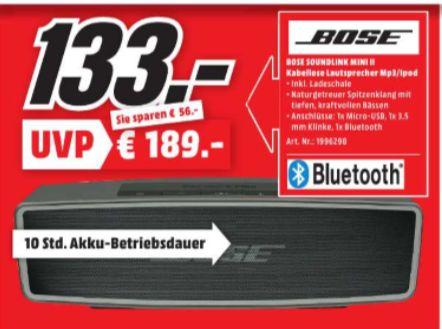[Regional Mediamarkt Dietzenbach / Egelsbach, Tagesangebot Nur Samstag] Bose ® SoundLink Mini Bluetooth Lautsprecher II carbon für 133,-€
