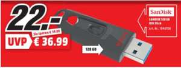 [Regional Mediamarkt Dietzenbach / Egelsbach, Tagesangebot Nur Samstag] SANDISK Ultra, USB-Stick, USB 3.0, 128 GB für 22,-€