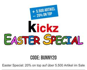 KICKZ Special 20% on top auf Artikel im Sale