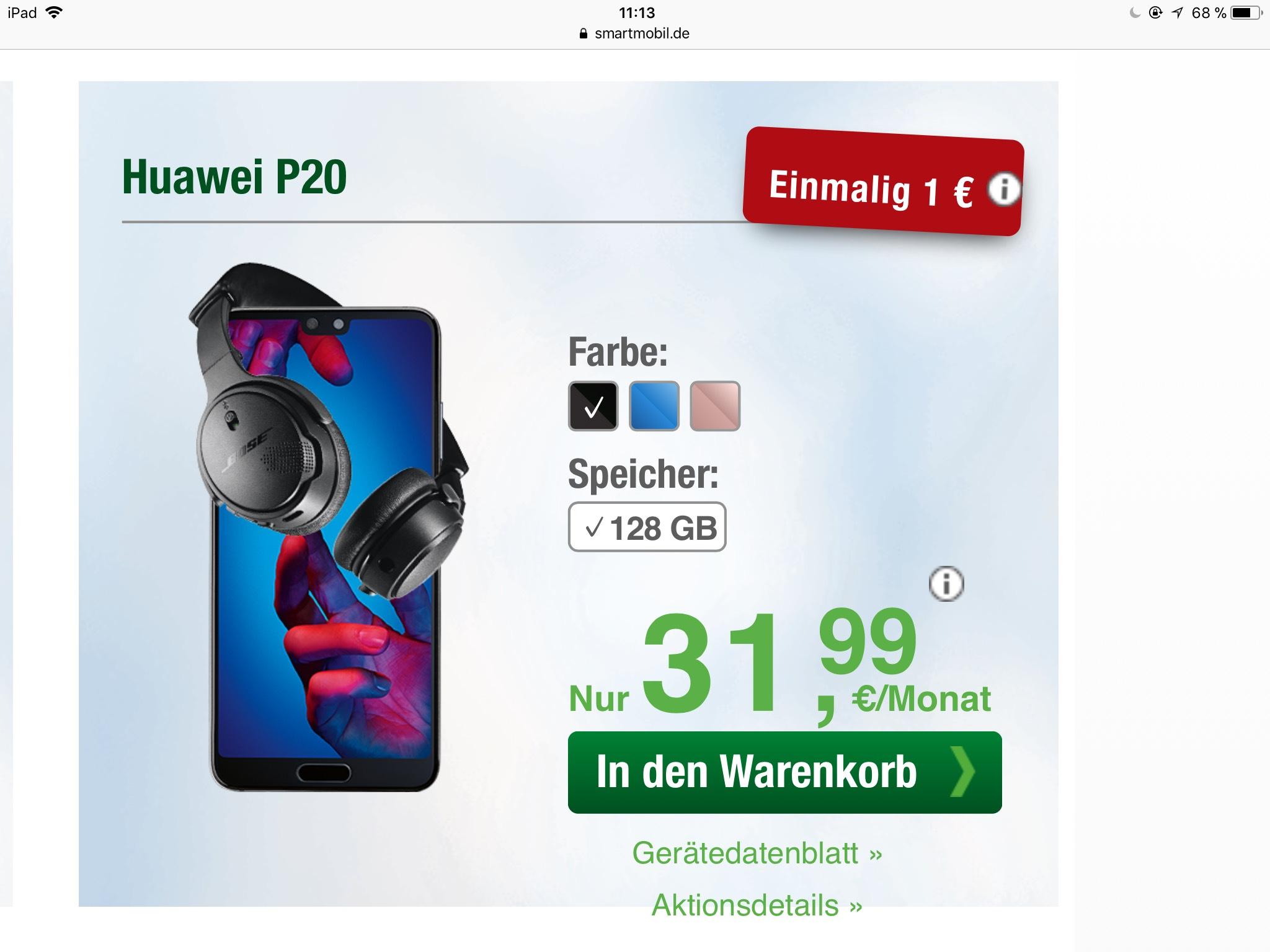 [smartmobile] Huawei p20 im o2 Netz  für 31,99€ mtl. (5 GB LTE, Allnet- & sms Flat)