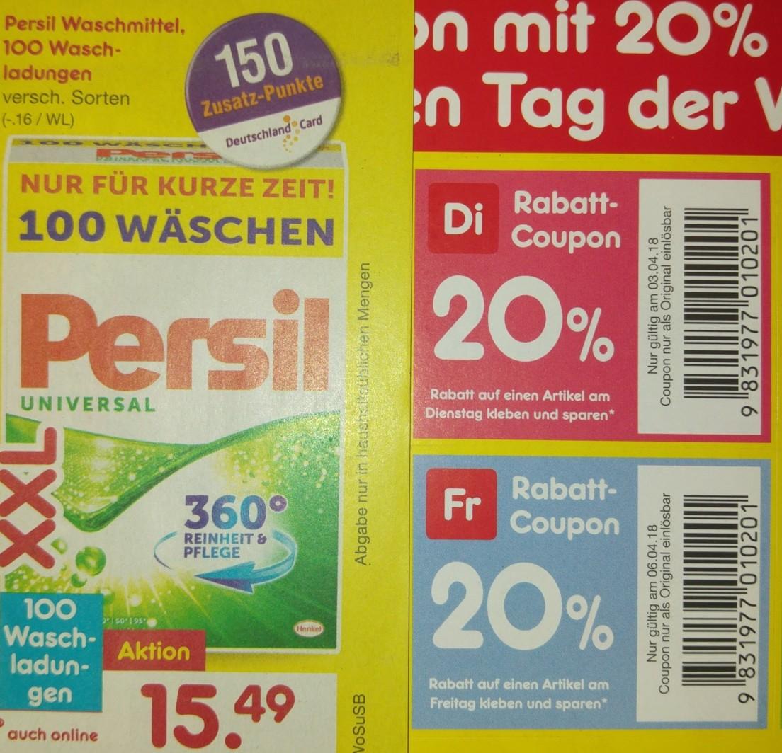 [Netto MD] 12,5% online, 5x20% lokal auch auf Angebote, z.B. Persil XXL 100 WL 12,40 €