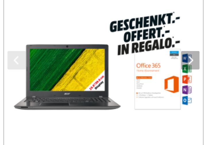 """[Mediamarkt-Schweiz] Notebook 15.6"""" Acer Aspire E 15 E5 - Full HD, i7-8550U, RAM 16 GB, SSD 512 GB, MX150 + Microsoft Office 365 Home"""