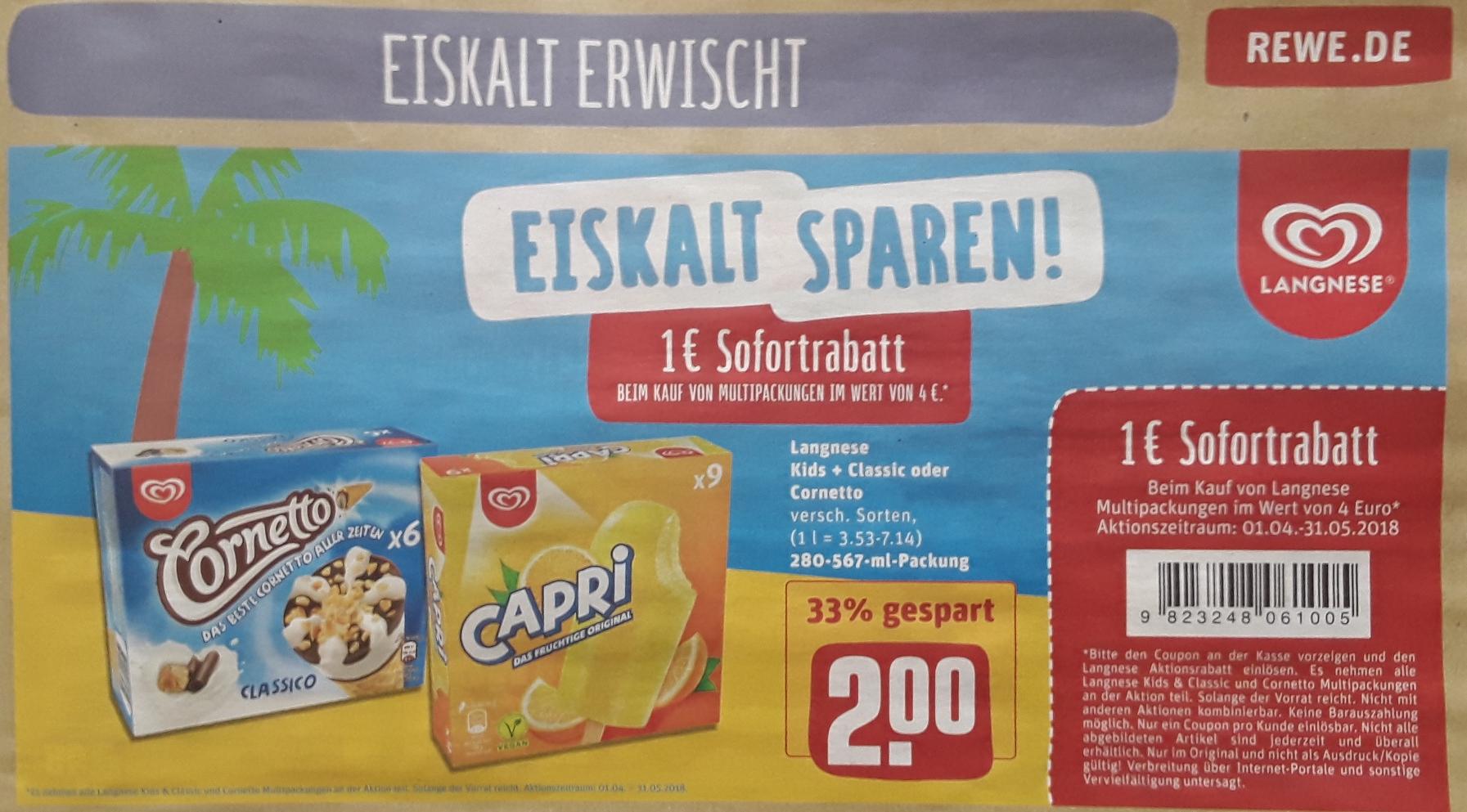2 x Langnese Kids + Classic oder Cornetto Multipackungen für 3 € (= 1,50 € pro Multipack) Dank 1 € Sofortrabatt @ Rewe ab 03.04.