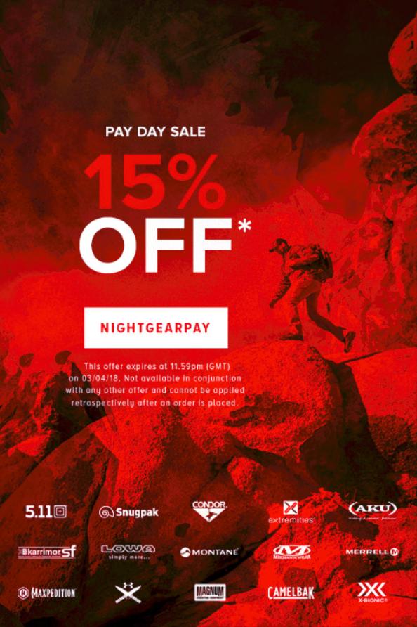 15% auf ALLES beim NIGHTGEAR Pay Day Sale (UK Shop für Militär, Polizei, Jagd, Outdoor)