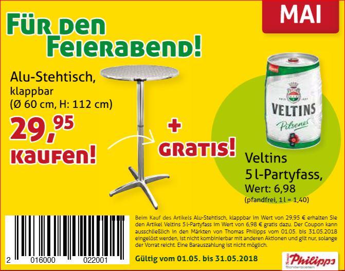 Monatsprodukt kaufen und Gratis-Zugabe erhalten z.B. Alu-Stehtisch + Veltins 5l-Partyfass [Thomas Philipps]