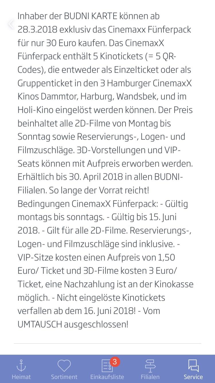 Lokal Hamburg > 5 CinemaxX Tickets für 30,00 €! Nur für Inhaber der BUDNI Karte. Nur solange der Vorrat reicht! Gutscheine gültig bis 15. Juni