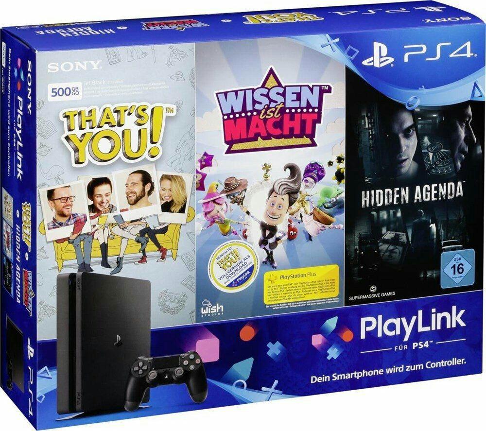 [Schweiz Microspot] Sony PlayStation 4 Slim Spielekonsole - 500GB + Hidden Agenda + Wissen in Macht + That's You!