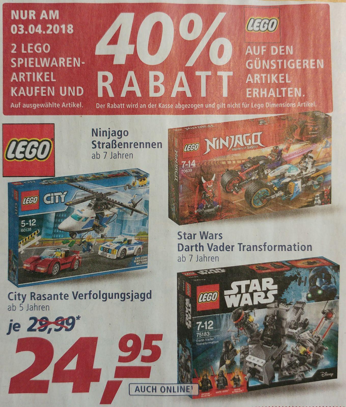Beim Kauf von zwei Lego Artikeln gibt es bei Real am 3.4 on und offline 40% Rabatt auf den günstigeren Artikel