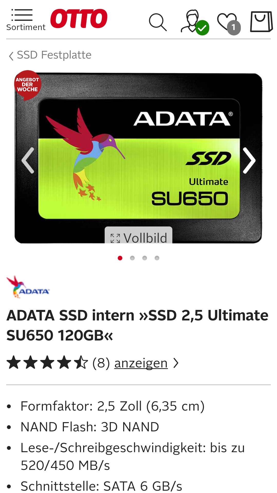[Otto-Neukunde]ADATA SSD intern »SSD 2,5 Ultimate SU650 120GB«
