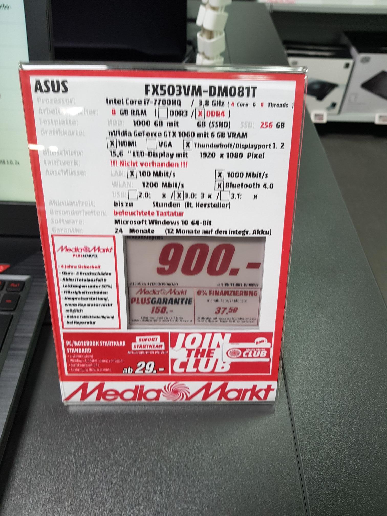 """[Lokal Wolfsburg] Media-Markt Asus 15,6"""" FX503VM-DM081T 7700hq/ GTX1060 6GB/8GB Ram/ 256gb SSD/ 1tb HDD"""