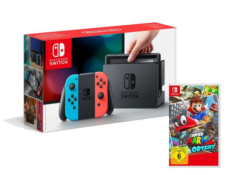 Nintendo Switch Konsole Neon-Blau/Neon-Rot mit Super Mario Odyssey