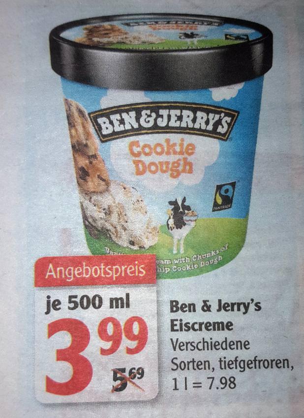 Ben & Jerry's Eiscreme versch. Sorten 500ml für 3,99€ bei Globus