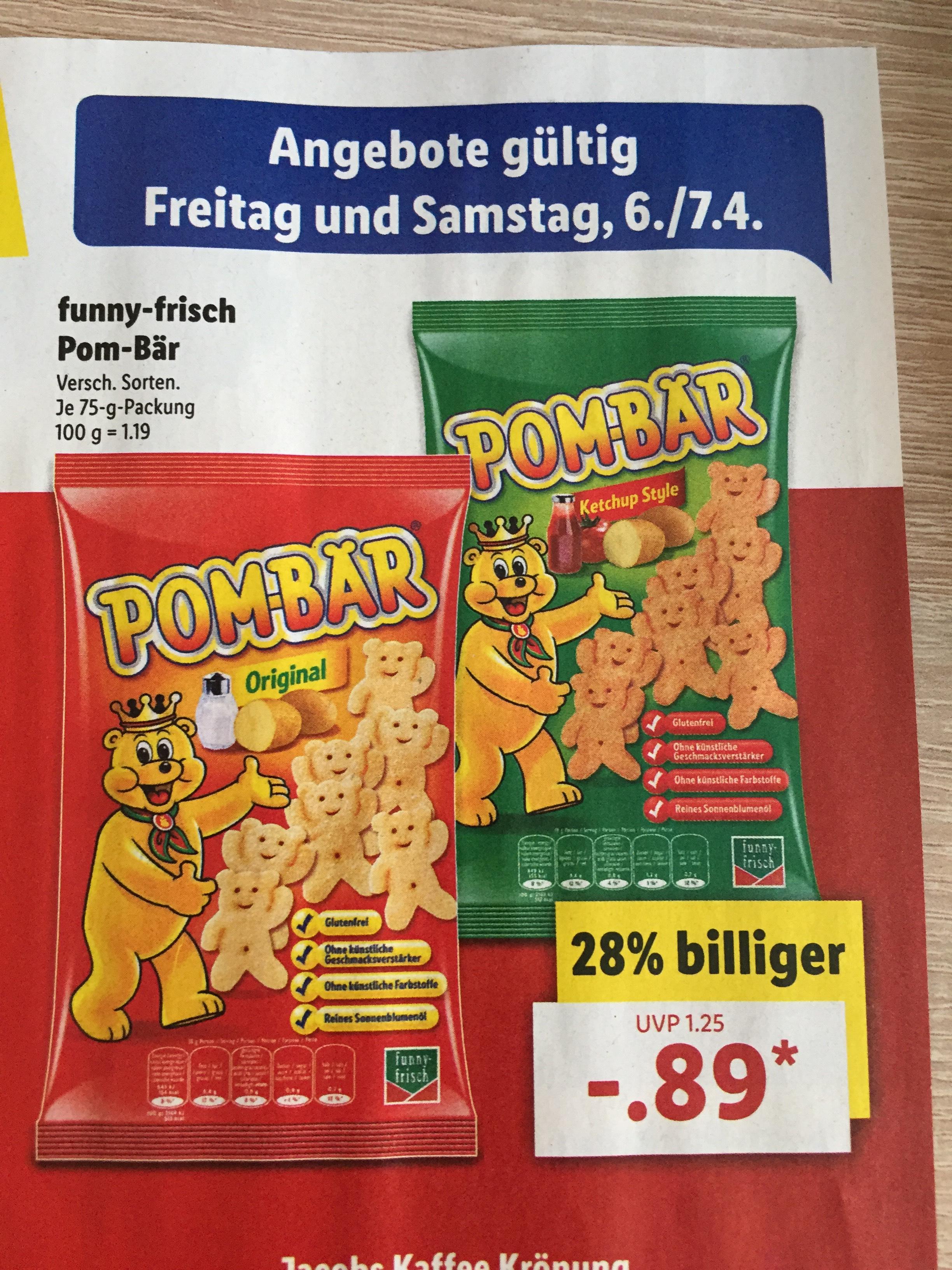 Funny Frisch Pom-Bär 75g 0,89€ bei Lidl ab 06.04.18