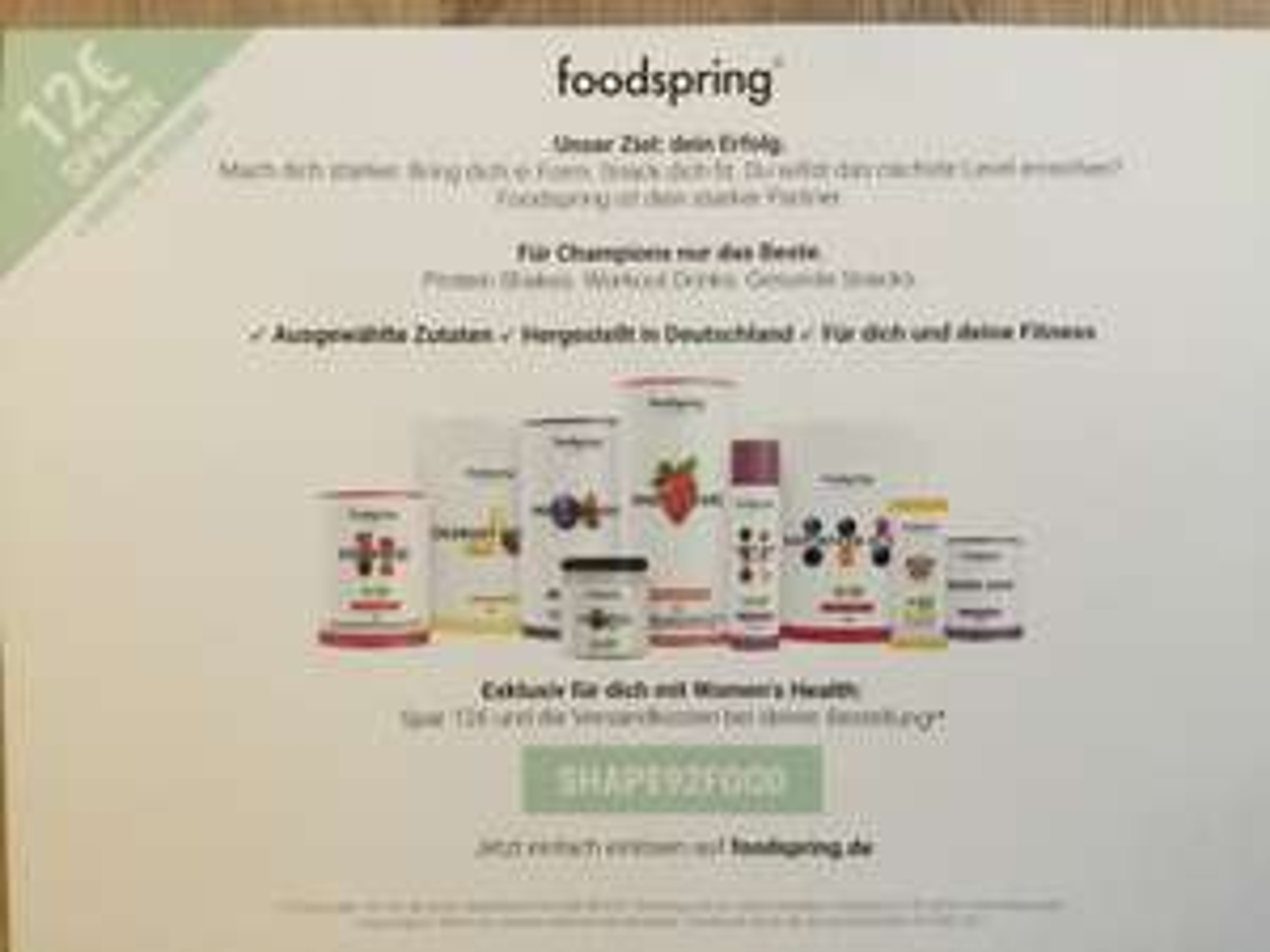 [Foodspring] 12€ Sparen + kostenloser Versand ab 50€ MBW