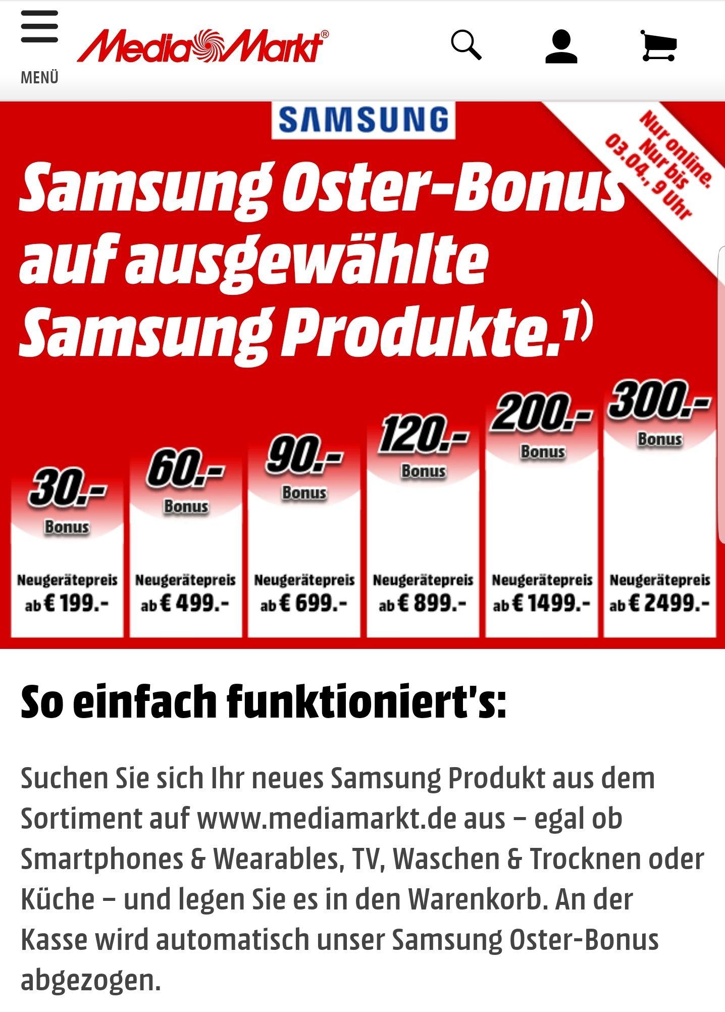 Media Markt Samsung Osterbonus 30 bis zu 300 € Bonus