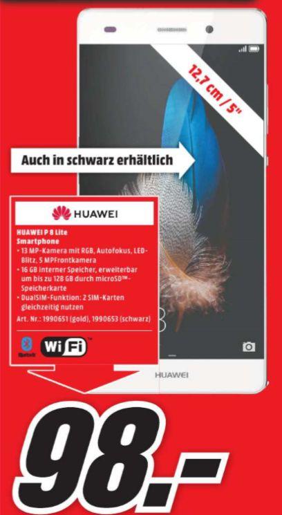 [Regional Mediamarkt Aschaffenburg] Huawei P8 lite Dual-SIM Smartphone (12,7 cm (5 Zoll) Touch-Display, 16 GB Speicher, Dual Sim (Version 2015) für 98,-€
