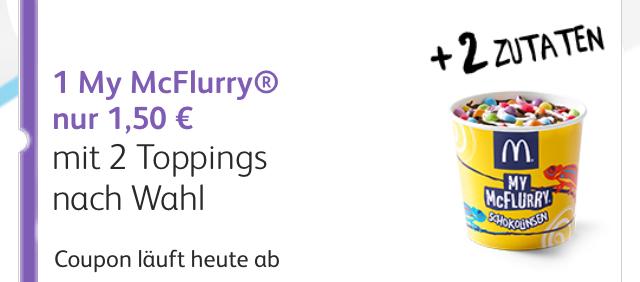 [McDonalds] Nur heute erhaltet Ihr ein McFlurry mit zwei Topongs für nur 1,50€ mit McVip