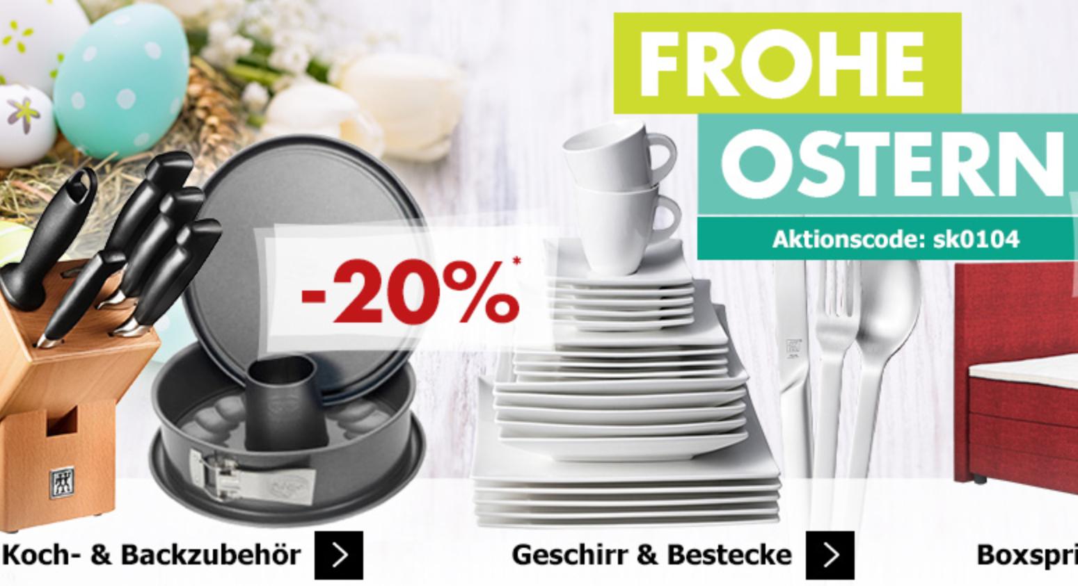 Osterfest bei Karstadt, 20% auf viele Artikel siehe Beschreibung! Versandkostenfrei ab 20€! 15€ Newslettergutschein! Shoop nicht vergessen!