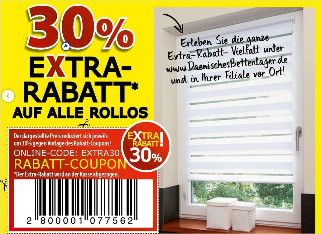 Alle Rollos im Dänisches Bettenlager 30% günstiger