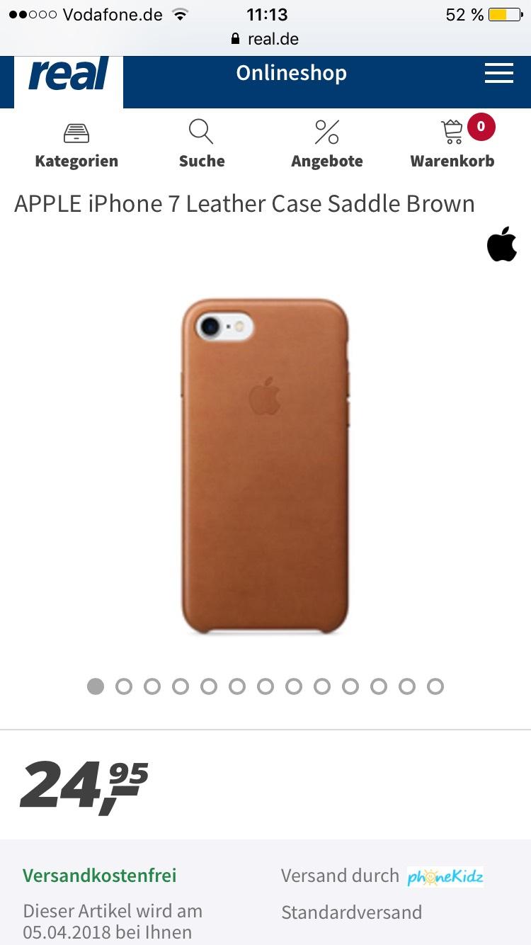 Apple iPhone 7 / 8 Leder Case Sattelbraun/Blau  ( Real Online )