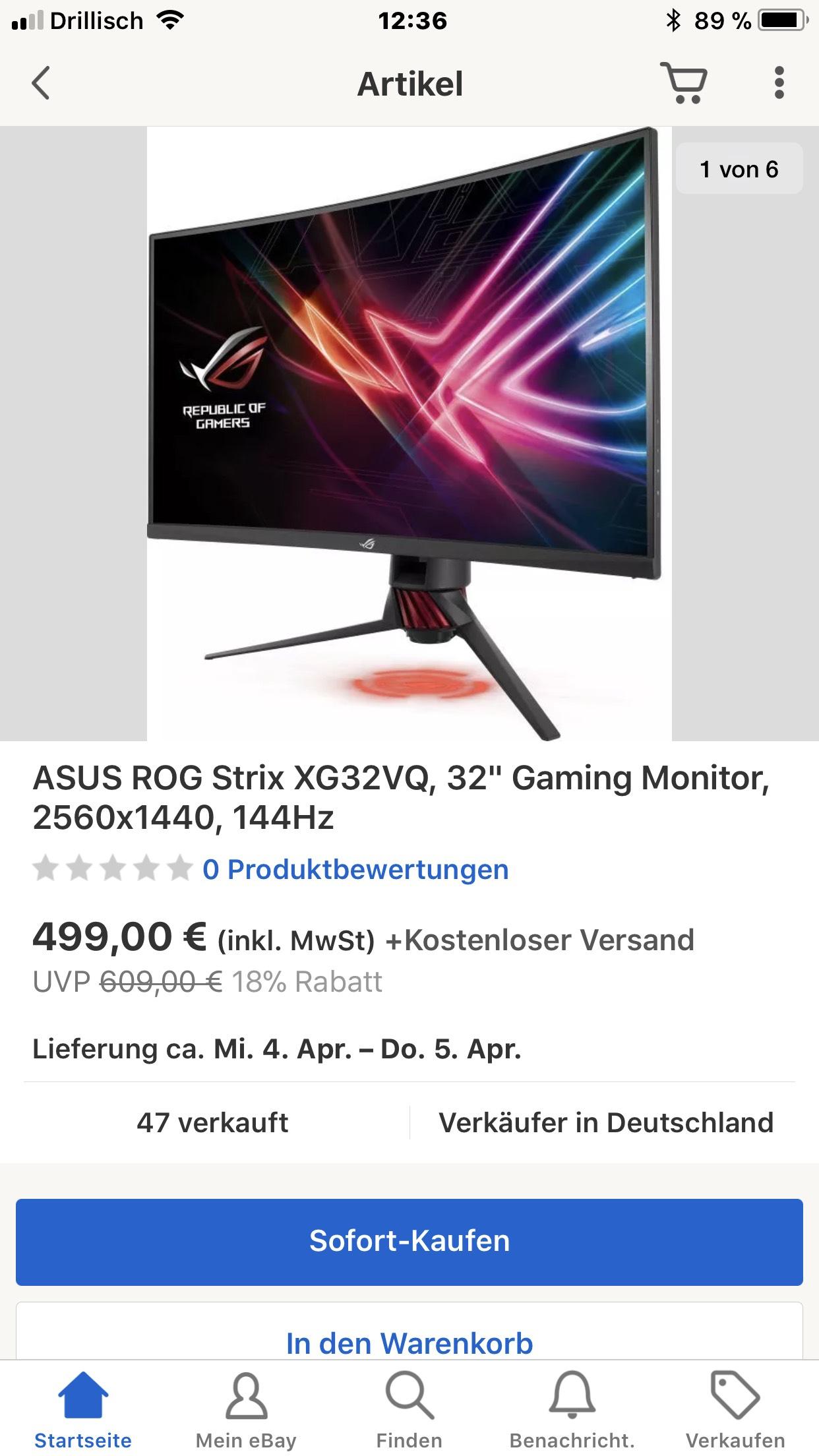 Ebay  Asus XG32VQ 32Zoll wqhd 144hz freesync  Monitor