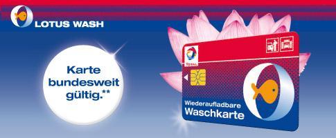 Eine Lotuswäsche 2.0 gratis beim Kauf einer Waschkarte (ab 15€) bei TOTAL