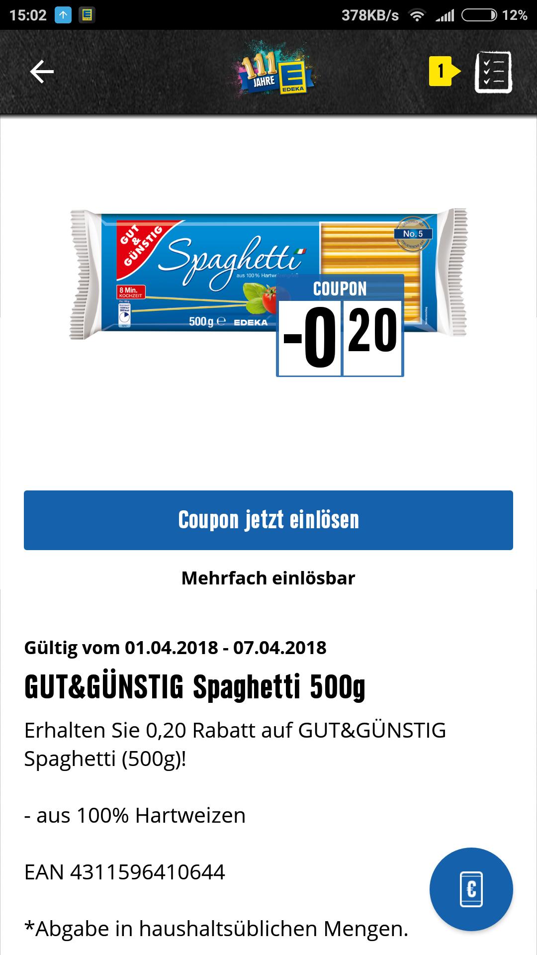 EDEKA Südwest: Gut und Günstig Spaghetti 500g für 0,19 € dank EDEKA-App Coupon - mehrfach einlösbar