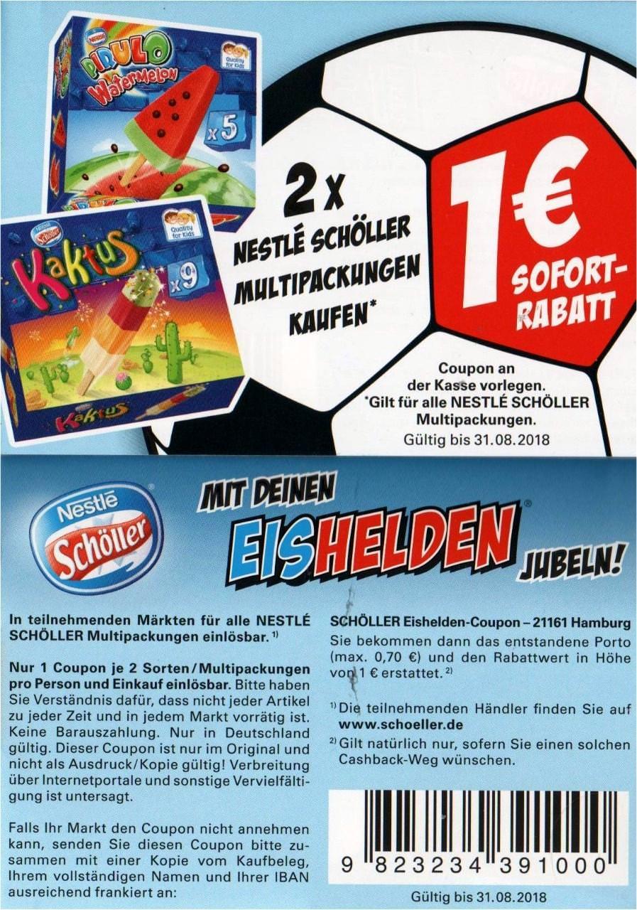 1€ Coupon für den Kauf von 2x Schöller Multipackungen bis 31.08.2018 (Scan)
