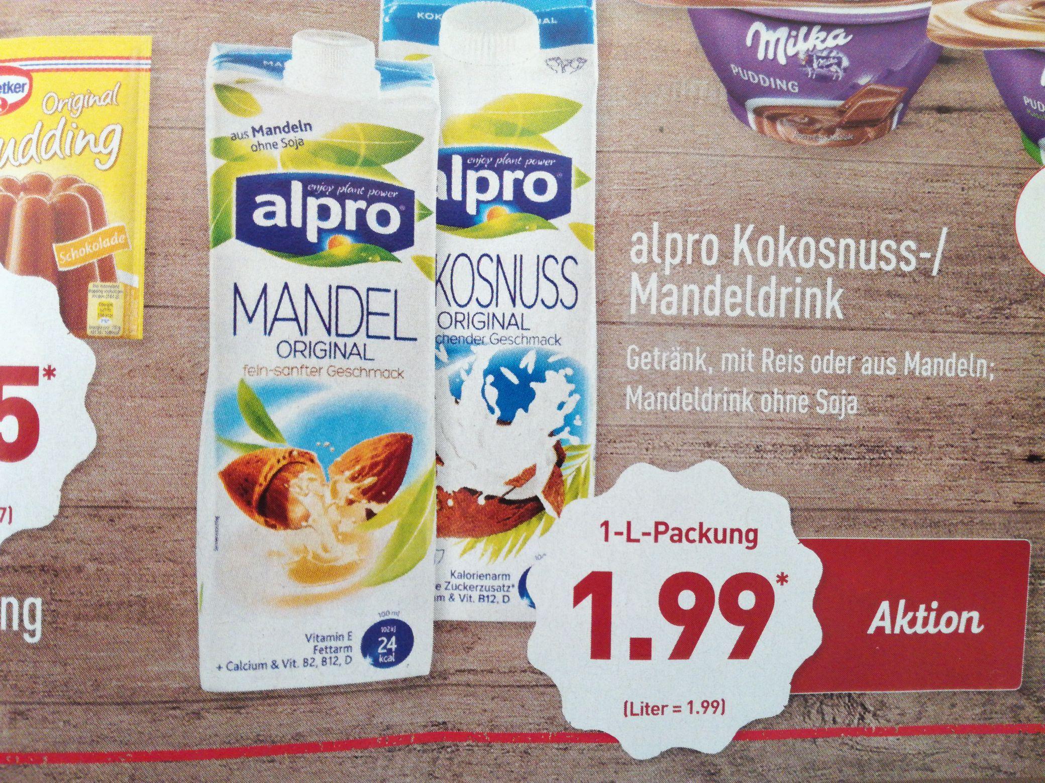 [Aldi Nord ab 06.04.] alpro Kokosnuss-/Mandeldrink