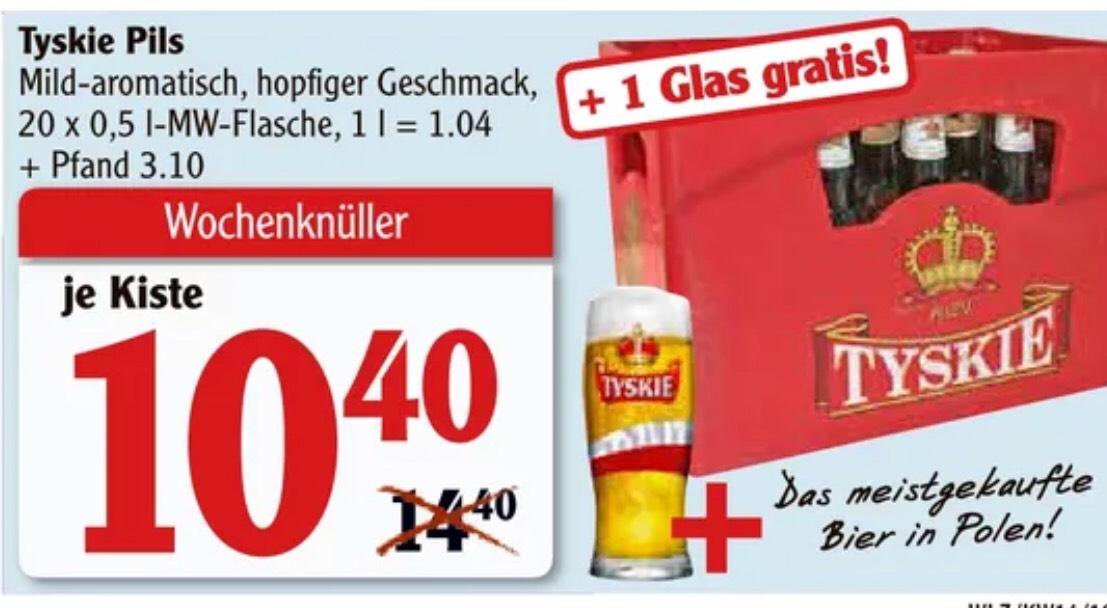 Tyskie Pils - Leckeres polnisches Bier + Gratisglas [Globus]