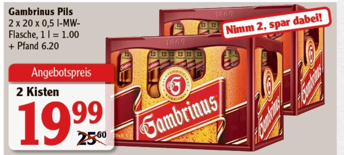 Gambrinus Pils - 2 Kästen für nur 19,99€ zzgl. Pfand [Globus]