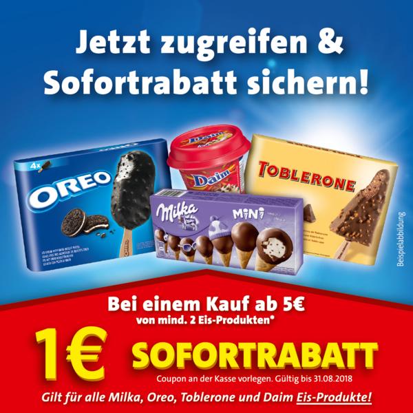 1,00€ Sofort-Rabatt für min 2 Milka-/Oreo-/Daim-/Toblerone-Eisprodukte im Wert von 5,00€ (Scan)