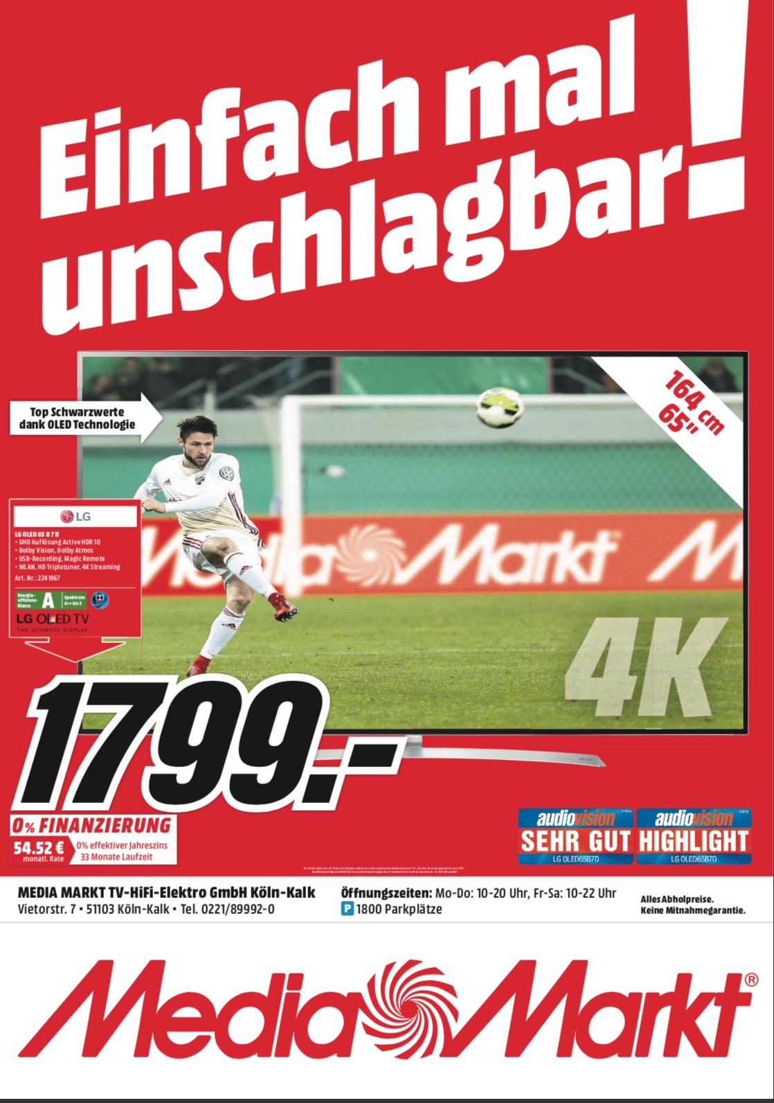 LG OLED 65B7 neuer Bestpreis [Lokal MM Köln Kalk]