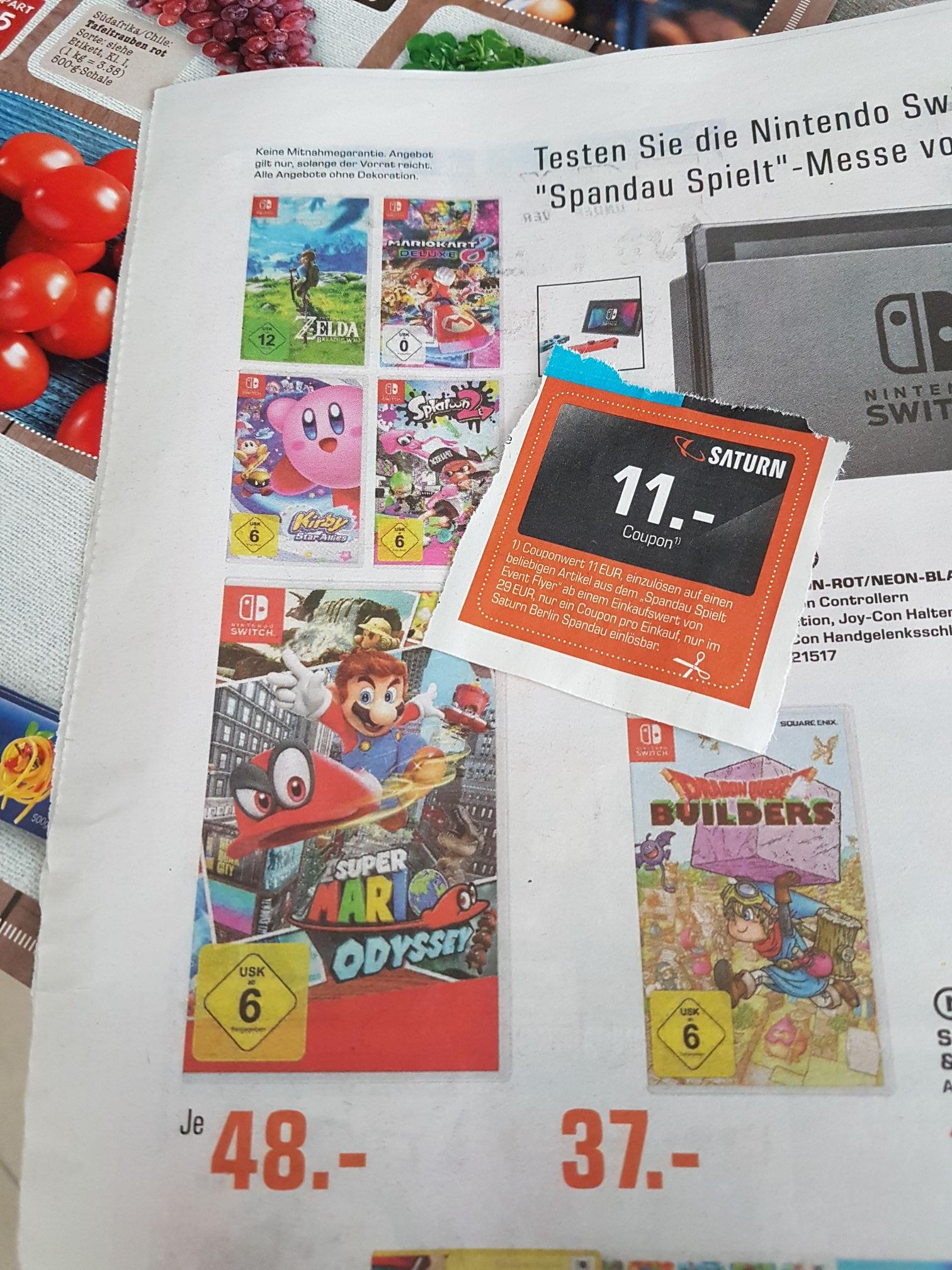 (lokal Saturn Spandau) Zelda Breath of the wild, Kirby, Mario , Splatoon 2 oder Mariokart 8 für 37€ Switch , ps4 & xbox