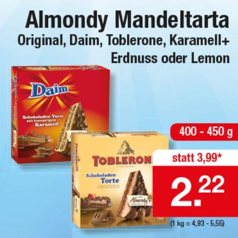 Almondy Original / Daim / Toblerone / Karamell+Erdnuss oder Lemon Torte 400-450g für 2,22€ bei Zimmermann