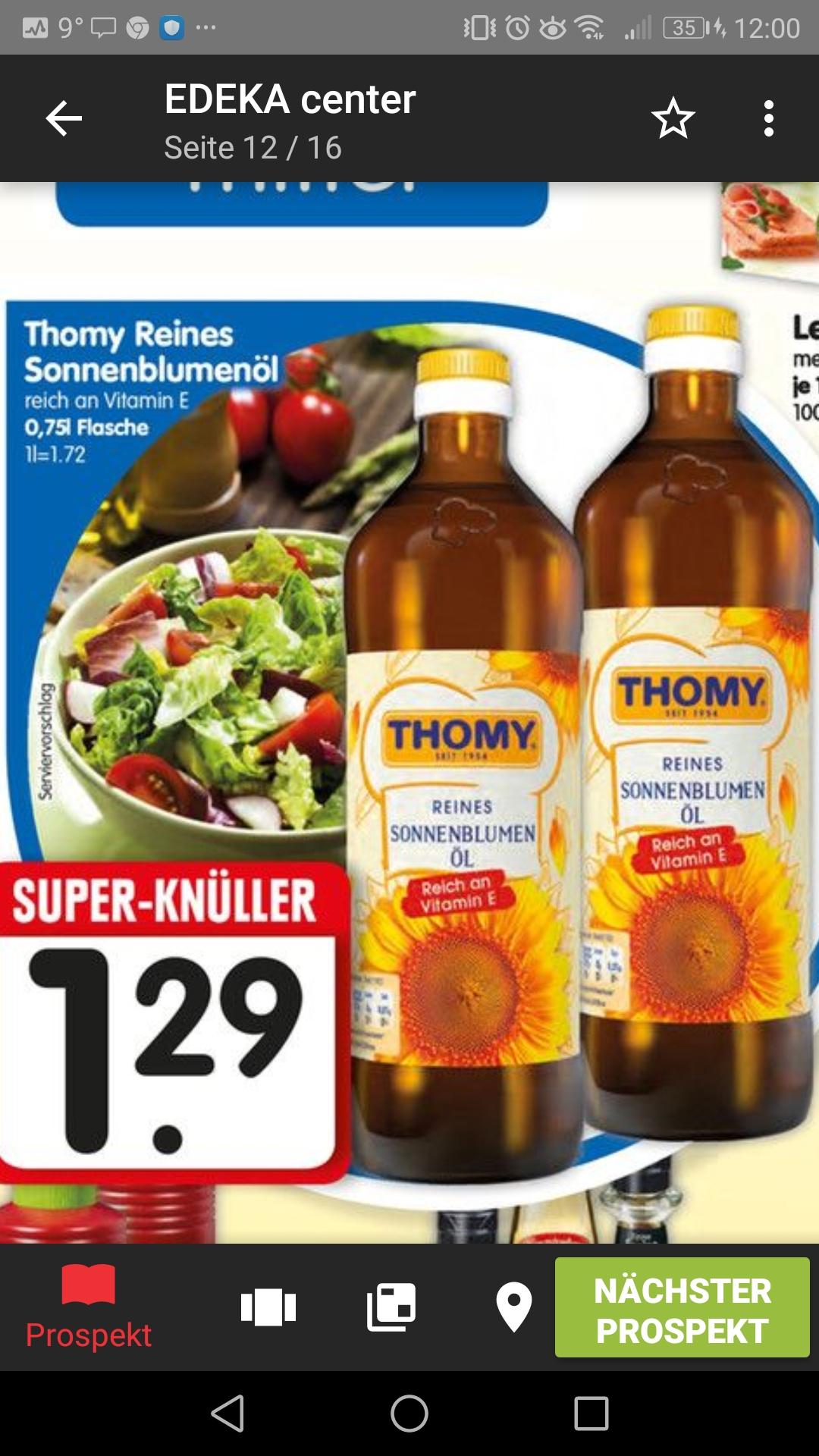 [Edeka bundesweit] 3x Thomy 0,75l Sonnenblumenöl für 2,87€ (Angebot plus coupon)