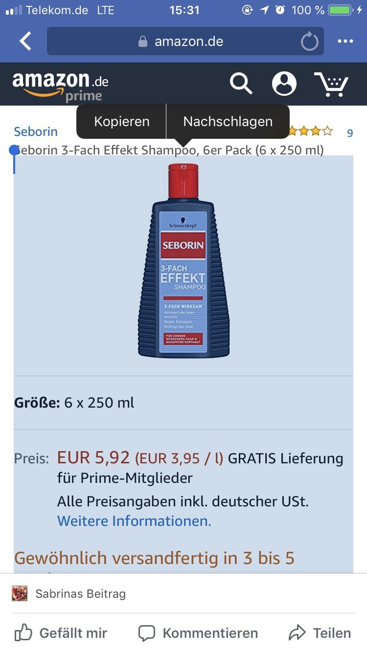 # Seborin 3-Fach Effekt Shampoo, 6er Pack (6 x 250 ml) (Prime)