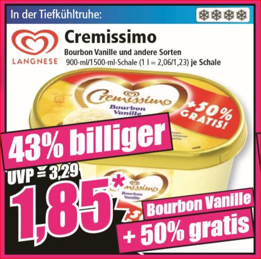 Langnese Cremissimo Bourbon Vanille (50% mehr Inhalt) und andere Sorten 900-ml/1500-ml-Schale für 1,85 Euro [Norma]
