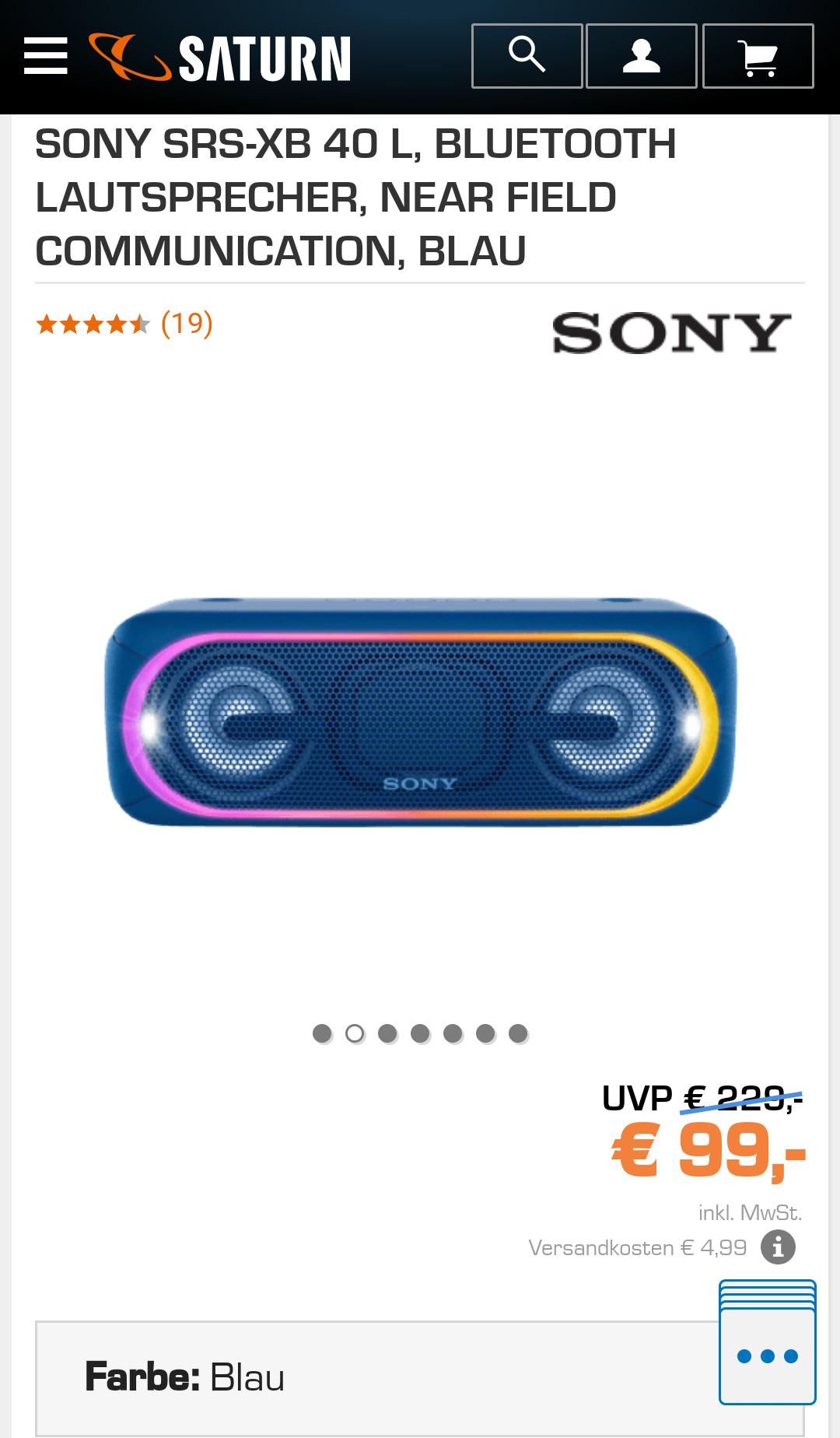 [Saturn lokal Berlin] Sony SRS XB40 Bluetooth Lautsprecher in schwarz