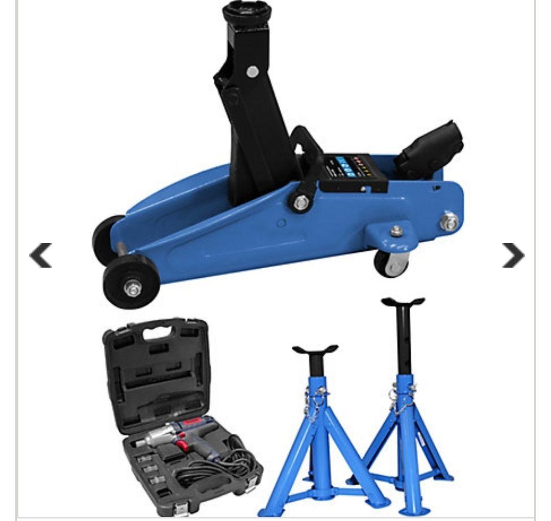 Reifenwechsel-Set inkl. Wagenheber, Schlagschrauber und Unterstellböcke