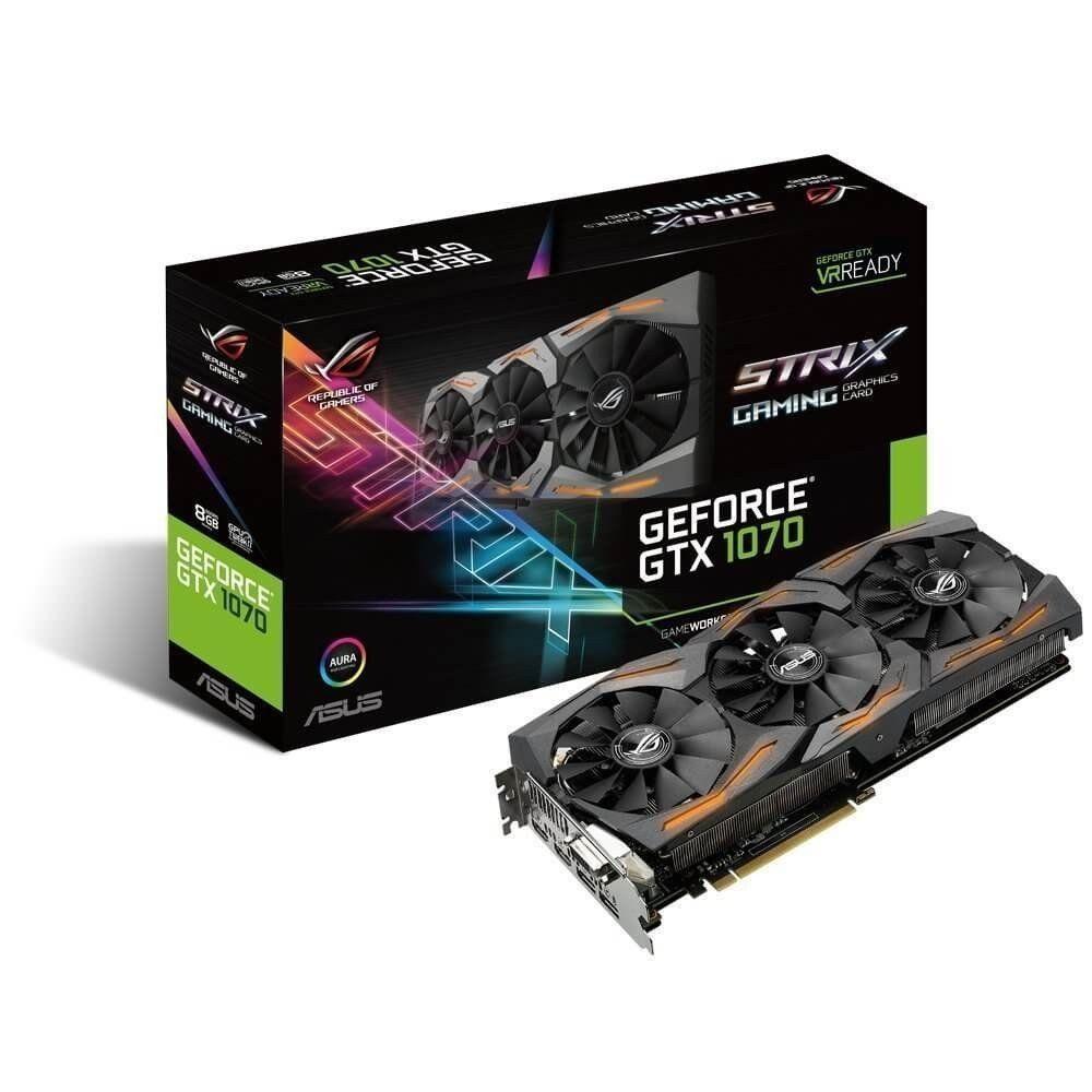 [Kurzfristige Vorbestellung Amazon-FR] Asus ROG Strix GeForce GTX1070-8G Gaming Grafikkarte (Nvidia, PCIe 3.0, 8GB GDDR5 Speicher, HDMI, DVI, DisplayPort) (lieferbar 14. April)
