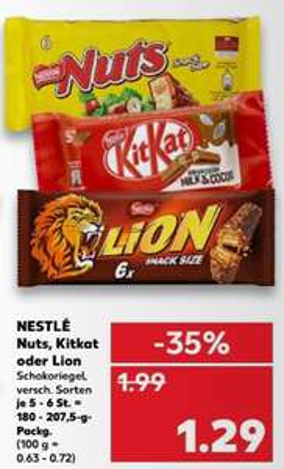 Nuts, Kitkat oder Lion für 1,29€ je Packung [Kaufland]