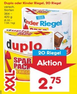 Netto: Kinder Riegel oder duplo in der XXL - 20 Riegel Packung Samstags-Kracher (07.04.)