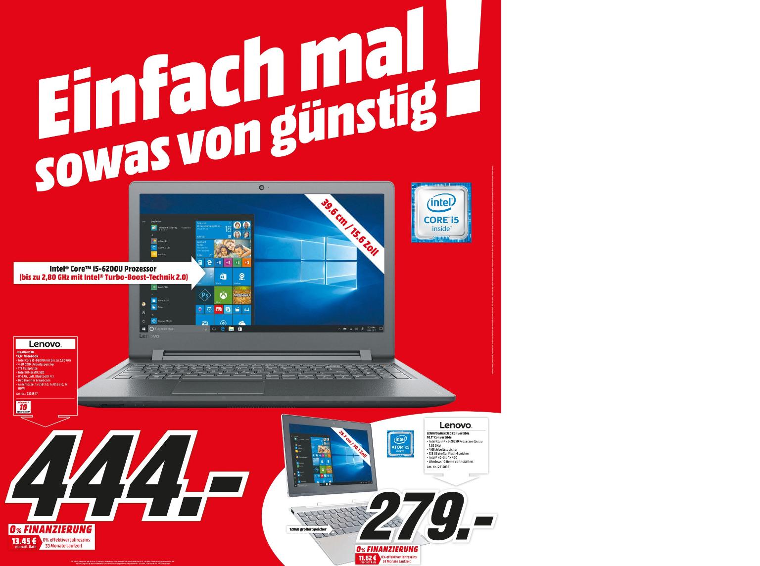 Lenovo Ideapad 110 - Core i5 Notebook [Media Markt Köln Kalk]