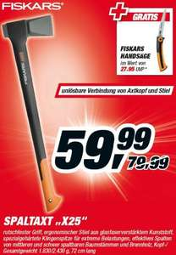 Toom Baumarkt - Fiskars Spaltaxt X25 + Handsäge gratis