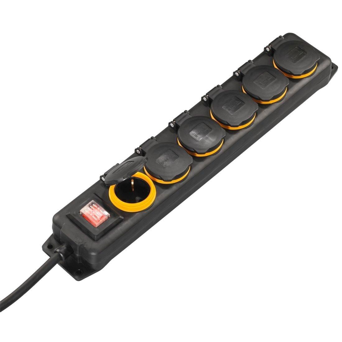 (Amazon) Hama Outdoor Steckdosenleiste mit Schalter, 6-fach, 2m IP44