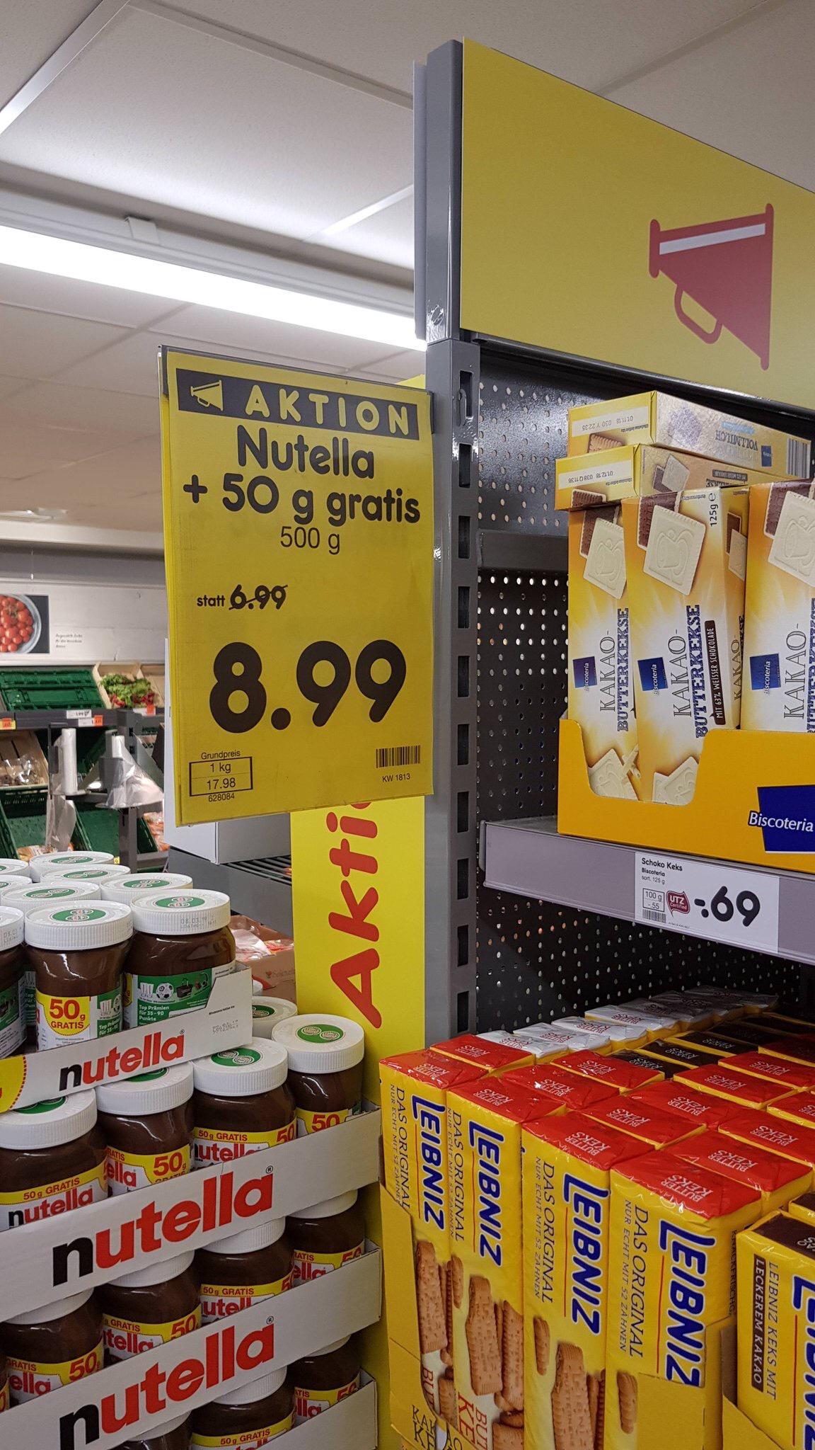 Nutella zum einmaligen Bestpreis (unschlagbar) - 500g plus 50g EXTRA bei [Netto]